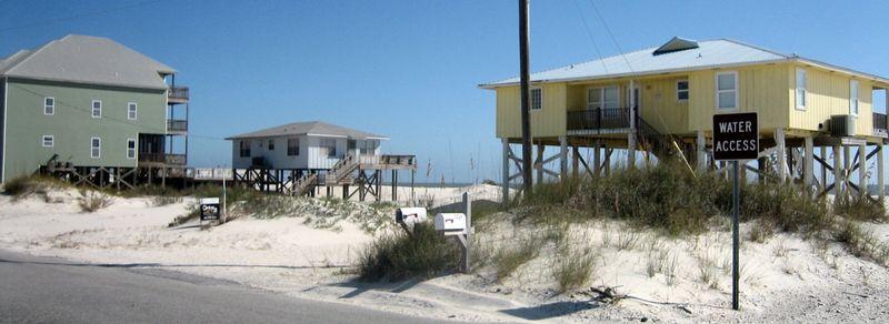 Beach houses on stilts