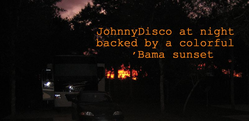 Alabama sunset behind JohnnyDisco