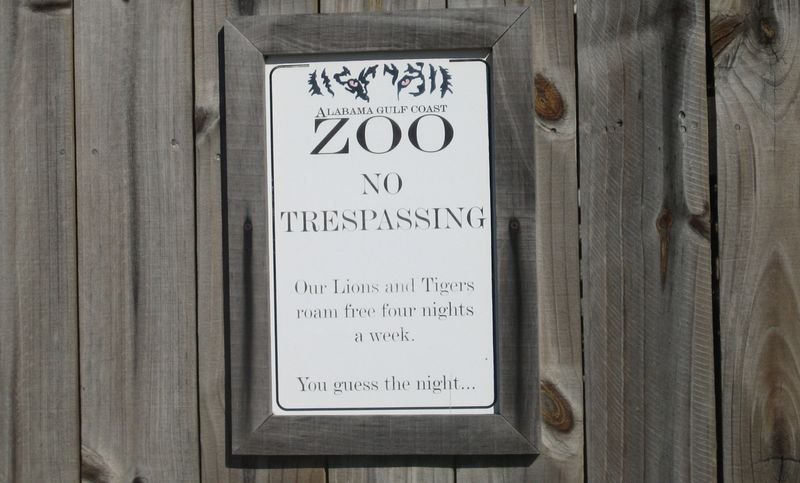 Sign in the zoo parking lot