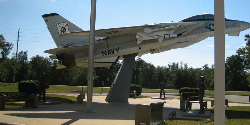 Life sized fighter jet at the main doors
