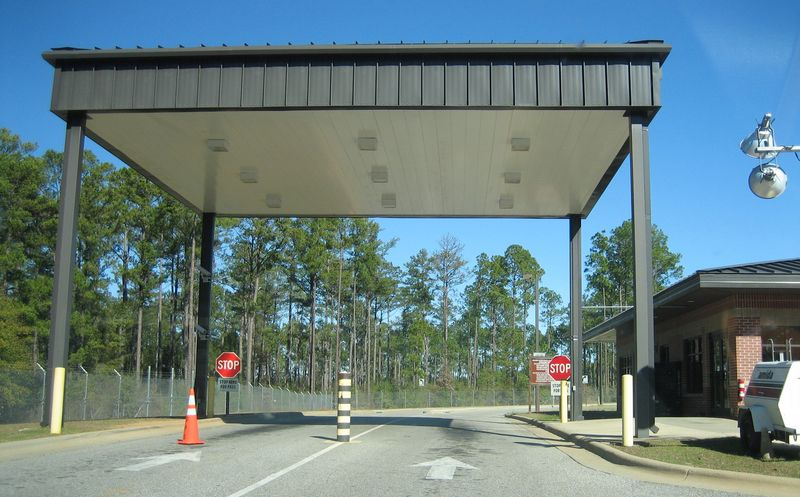 Had to drive through this inspection area to show id and get a Fort Rucker visitor pass