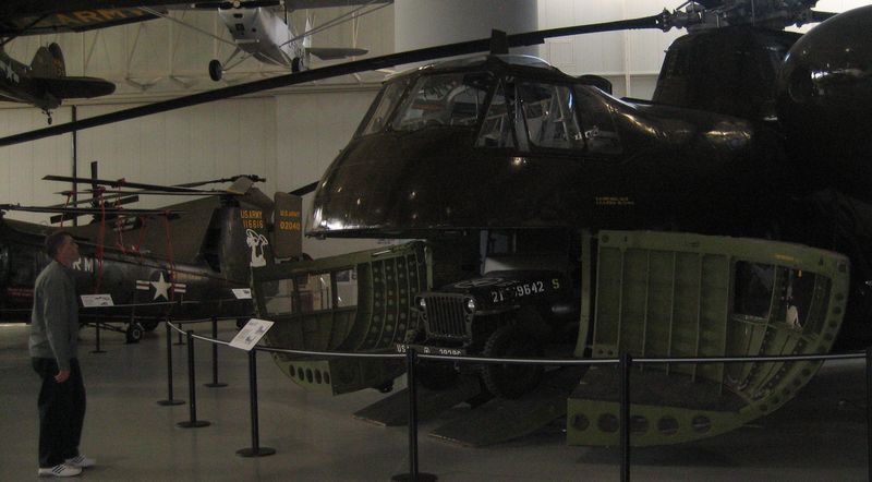 The Sikorsky H-37 can fit a jeep behind its clamshell doors