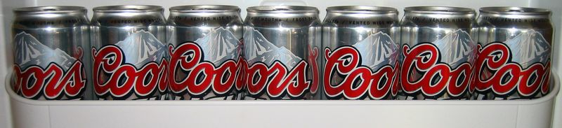 Coors in the fridge