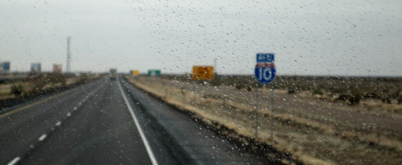 The drizzle started just before the AZ border