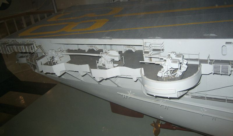 The detailed guns and propellers on the carrier are very cool