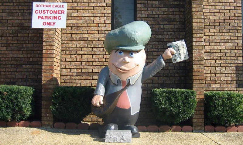 The Paper Boy peanut outside the Dothan Eagle