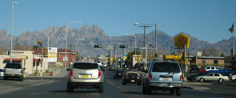 Heading towards downtown Las cruces with the Organ Mountain Range in the background