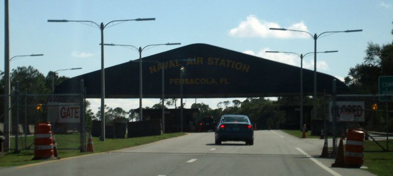 The gates to enter Pensacola Naval Station
