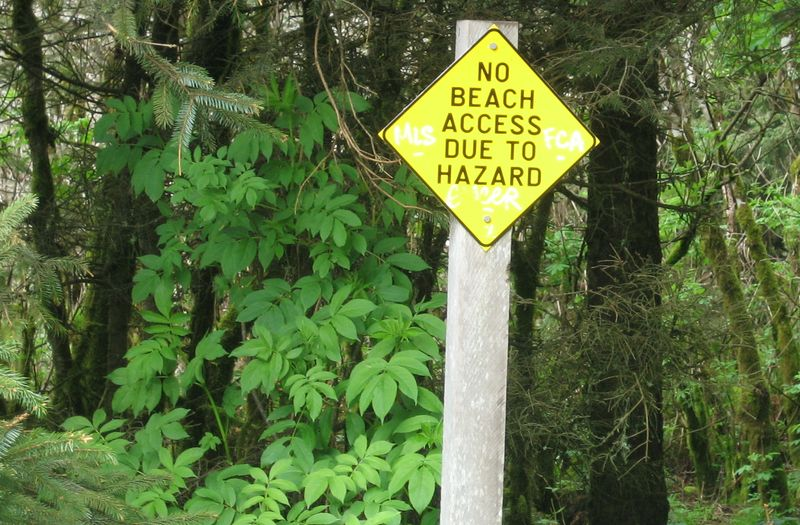 The hazard is that you'll fall down a steep cliff