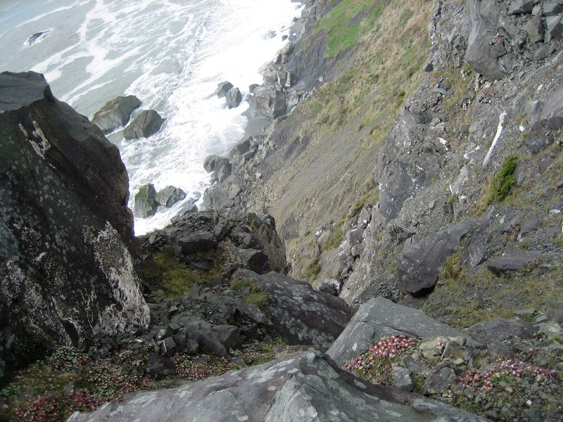 View down the steep cliff