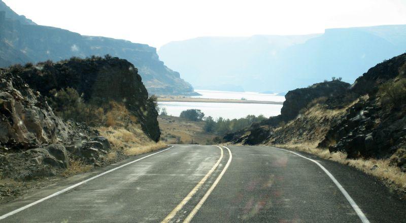 Highway thru the dirty windshield
