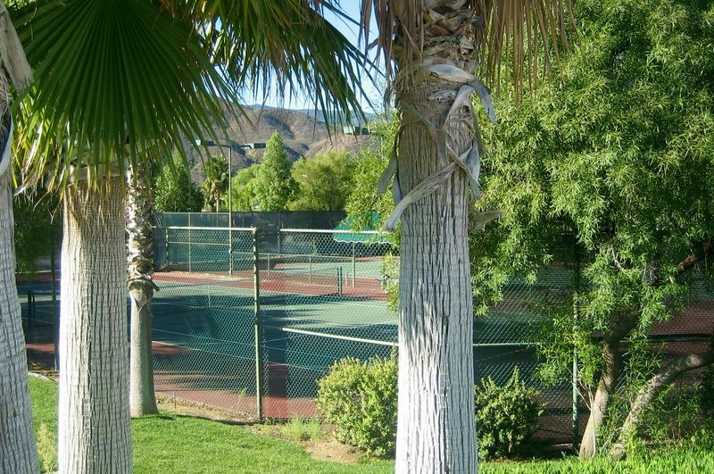 A couple of the tennis courts