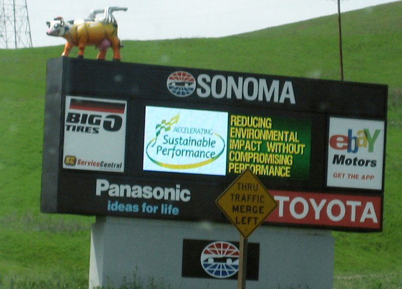 Cow on sign