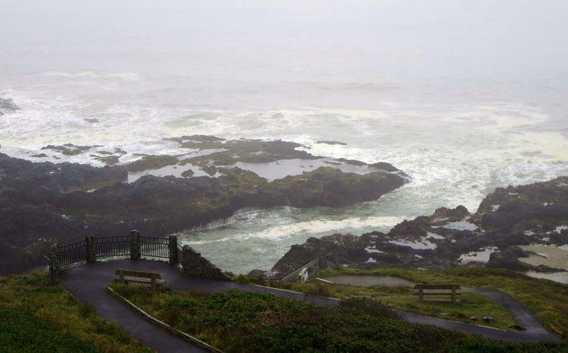 Foggy ocean scene