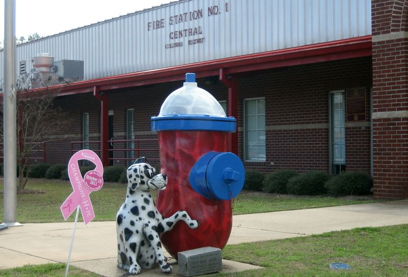 Nuts About Safety peanut outside the Dothan Fire Department