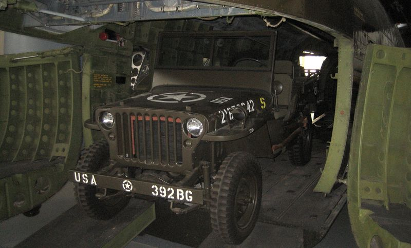 Army jeep inside the choppers belly