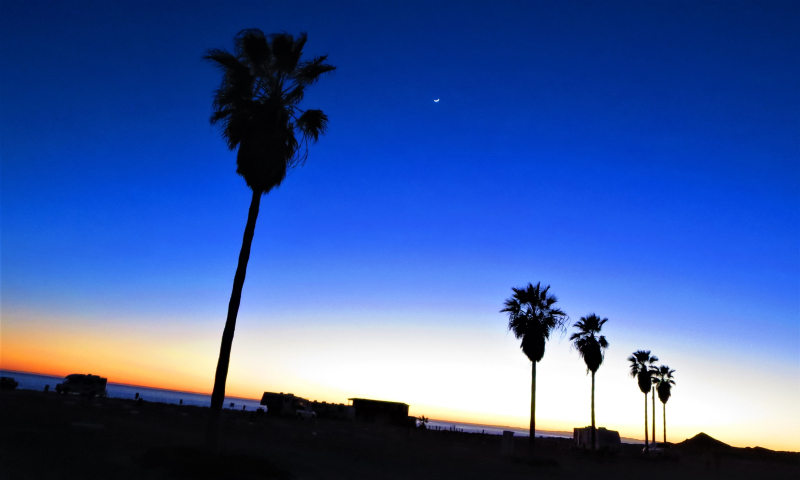 The Reef RV park after sunset