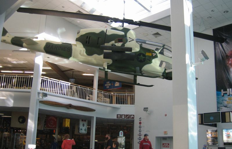 Camo Marine chopper hanging from the ceiling