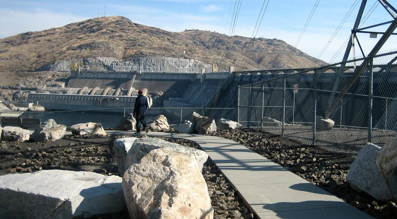 My fella checking out the dam