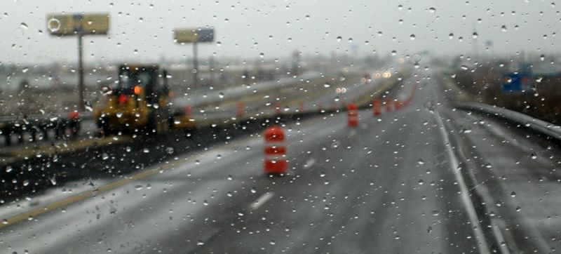 Road work in the rain