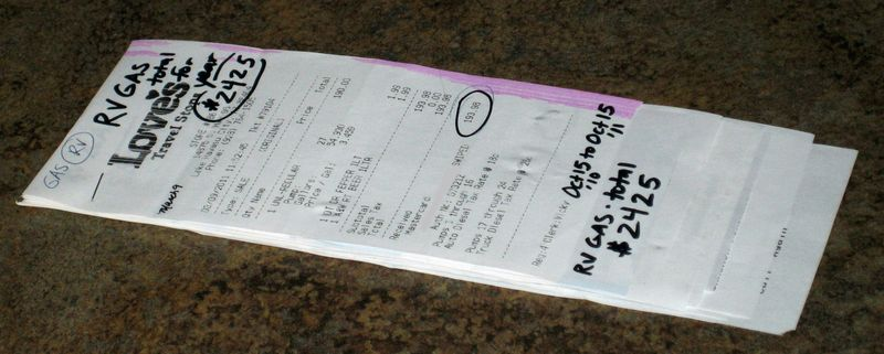 Gas receipts