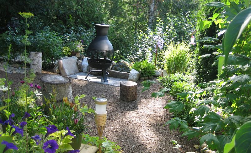Back yard with firepit