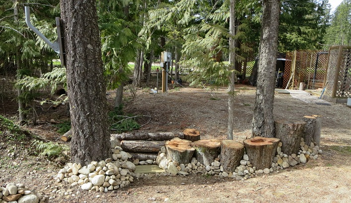 Re-used the logs, stumps and rocks