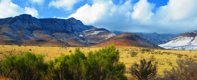 Snow in the desert hills