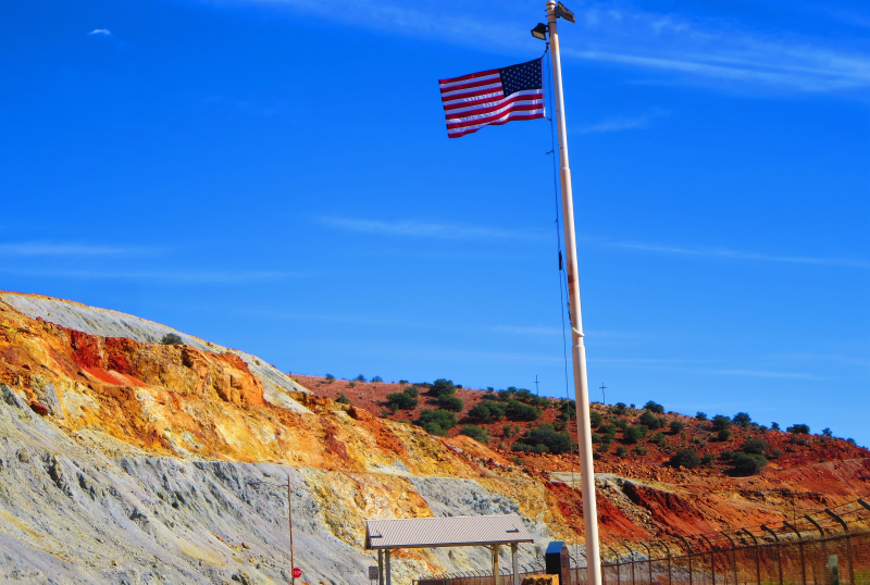 Flag marking the mine