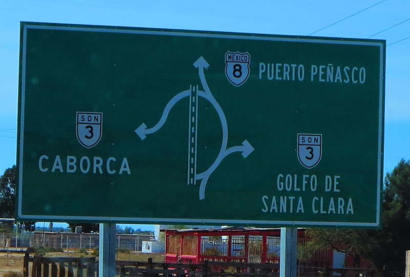Typical Mexico road sign