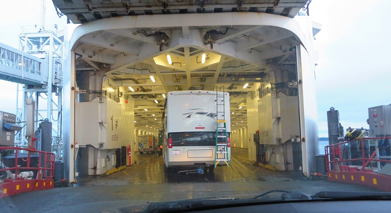 Driving onto the ferry deck