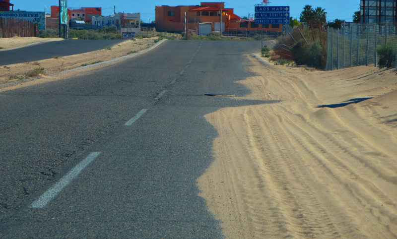 Sand on the road